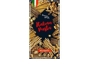 Pasta banner with italian macaroni