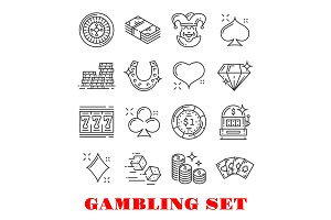 Gambling and casino line art icons