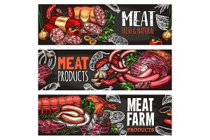 Meat and sausage banners