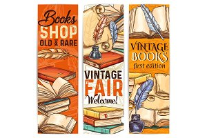 Bookshop banners of old rare book