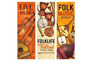 Folk music festival banners