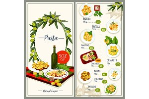 Pasta menu of Italian cuisine