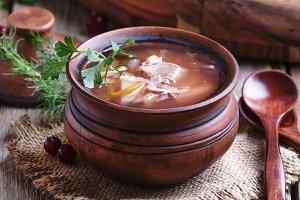 Shchi - soup made of sauerkraut, mea
