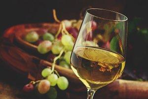 Autumn ice wine, ripe grapes and dri