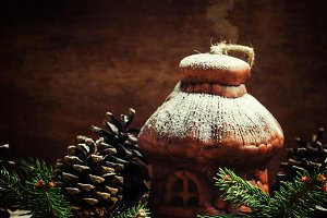 Christmas House from clay with pine