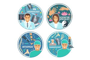 Medical doctor personnel icons