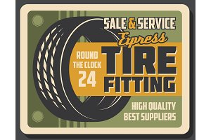 Tire fitting banner of car service