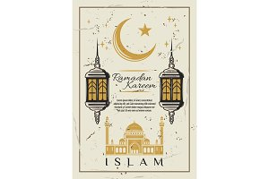 Ramadan card with mosque and lantern