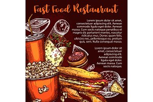 Fast food menu cover with lunch dish
