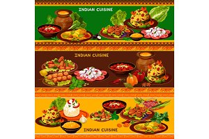Indian cuisine dishes banners