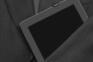 Business Suit With Tablet Computer