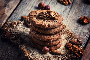 Crispy cookies with cocoa and nuts,