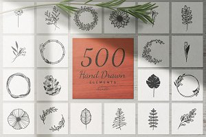 500 Hand Drawn Elements -Bundle II-