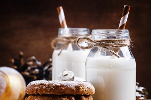 Christmas cookies and warm milk in b