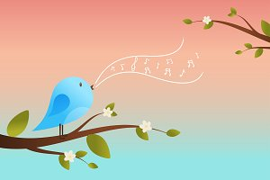 Singing Bird on a branch