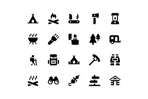 Camping Glyph Icons