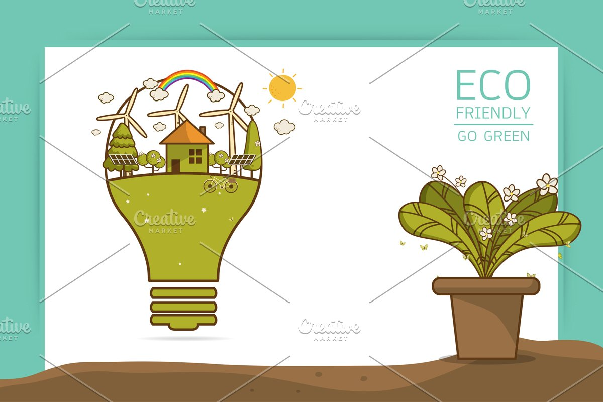 Vector illustration of eco home