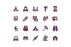 Camping Filled Line Icons