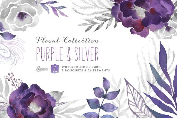 Purple & Silver floral collection