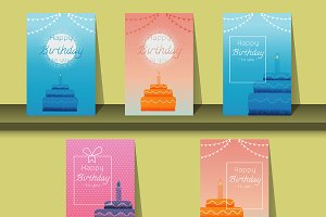Greeting card Happy birthday cake