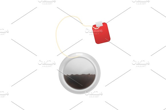 Realistic Detailed 3d Tea Bag Set.  in Illustrations - product preview 1