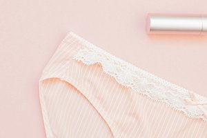 Flat lay set of female panties and a
