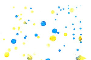 Abstract yellow blue ink splash