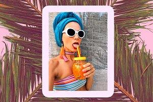 Girl Beach fashion look. Stylish acc