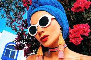 Glamorous Lady Outdoor. Stylish acce