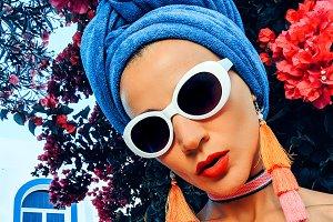 Glamorous Vacation Lady. Stylish acc