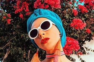 Lady in fashion beach accessories. H