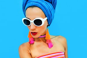 Lady in fashion beach accessories. H