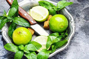 Fresh green mint and lime