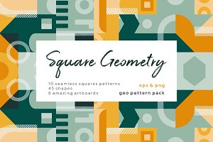 Square geometric pattern set.