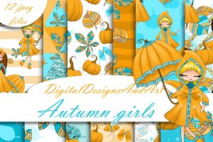 Autumn girls digital paper