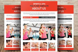 Spa & Fitness Gym A4 Flyer