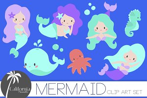 Mermaid & Sea Life Clip Art Set