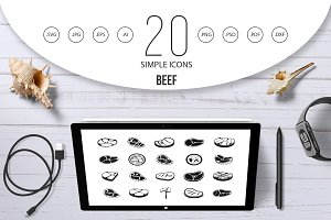 Beef icon set, simple style