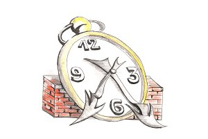 Clock. Drawing with a pencil. Color