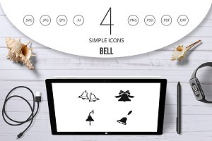 Bell icon set, simple style