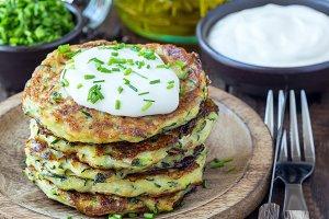 Vegetarian zucchini fritters or panc