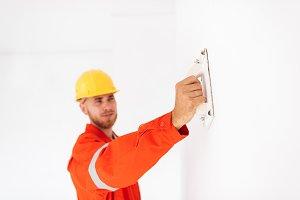 Close up foreman in orange work