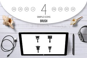 Brush icon set, simple style