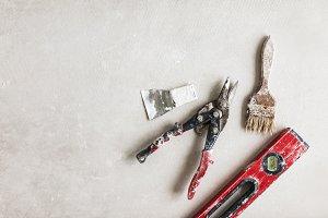 Close up repair tools over white