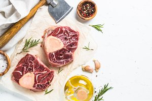 Raw beef steak osso bucco.