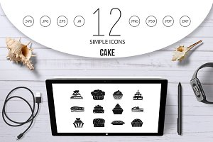 Cake icon set, simple style