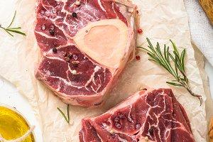 Raw beef steak osso bucco.