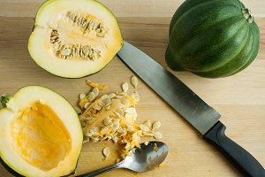 Acorn Squash on a Cutting Board