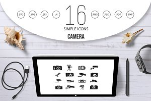 Camera icon set, simple style