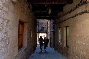 Narrow cobblestone street under a